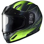 Youth Semi-Flat Black/Hi-Viz CL-Y Taze MC-3HSF Helmet w/Framed Dual Lens Shield - 243-734