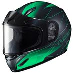 Youth Semi-Flat Black/Green CL-Y Taze MC-4SF Helmet w/Framed Dual Lens Shield - 243-744