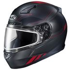 Semi-Flat Black/Red CL-17 Combat MC-1SF Helmet w/Frameless Dual Lens Shield - 865-713