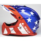 Youth Red/White/Blue Gate Stripes Helmet - 437G-4253