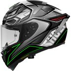 Gray/Black/White/Green X-Fourteen Aerodyne TC-4 Helmet - 0104-2604-06