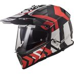 Red/Black/White Pioneer V2 Extreme Helmet w/Dual and Single Lens Shields - 436-7041