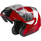 Red/Silver/Black MD04S Modular Reserve Snow Helmet w/Dual Lens Shield - 72-5931L