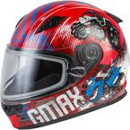 Youth Red/Blue/Gray GM49Y Beasts Snow Helmet w/Dual Lens Shield - 72-6032YL