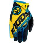 Youth Cyan/Yellow SX1 Gloves - 3332-0974
