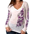 Women's Sugar Paisley Burn-Out V-Neck Long Sleeve Shirt - GLC3410L