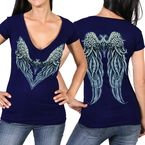 Women's Navy Angel Heart 2  Semi-Sheer V-Neck T-Shirt - GLD1392M