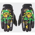 Black/Green Joe Destroy Gloves - 1612-1403