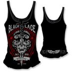Womens Black Lace Riders Tank Top  - LT20334L