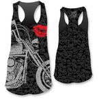 Womens Motorcycle Lips Tank Top - LT20327L