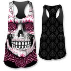 Womens Dod Rose Skull Tank Top  - LT20304L