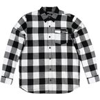 Black/White Explicit Long-Sleeve Flannel Shirt - FA6504000BLWM