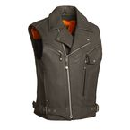 Black Reckless Outlaw Leather Vest - FIM-622-CSL-5X-4X