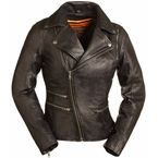 Women's Black The Monte Carlo Leather Jacket - FIL-160-NOCZ-L