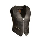Women's Black The Montana Leather Vest - FIL-515-CSL-2X