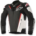 Black/White/Flo Red Atem Leather Jacket v3 - 3106518-1231-50