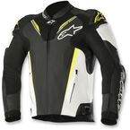 Black/White/Flo Yellow Atem Leather Jacket v3 - 3106518-125-48