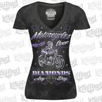 Womens Black Motorcycle Over Diamonds T-Shirt - LT20430L