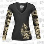 Womens Long Sleeve Love N Death Tattoo Sleeve Shirt - LT20429L