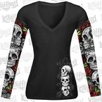 Womens D.O.D. Rose Skull Tattoo Sleeve Shirt - LT20345S