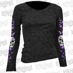 Womens Butterfly Skull Burnout Long Sleeve Shirt - LT20403L