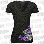 Womens Hourglass Skull Burnout T-Shirt - LT20436L