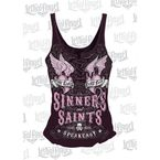 Womens Sinners & Saints Lace Up Tank Top - LA20470L