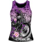Womens Flower Motorcycle Tank Top - LA20607L