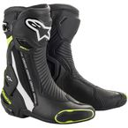 Black/White/Yellow SMX Plus Non-Vented Boots - 2221019-125-38