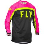 Youth Neon Pink/Black/Hi-Vis F-16 Jersey - 373-926YL