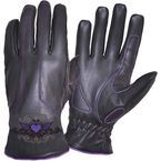 Women's Black Embroidered Purple Heart Cowhide Leather Gloves - 8144.17S