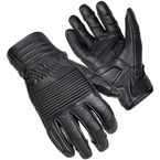 Black Associate Mid-Length Cuff Leather Gloves - 8361-0105-06