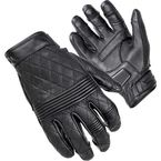 Women's Black Scrapper Short Cuff Diamond Quilted  Leather Gloves - 8362-0105-75