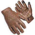 Women's Brown Scrapper Short Cuff Diamond Quilted Leather Gloves - 8362-0114-76