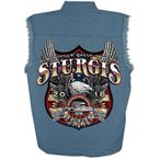 Blue Sturgis Freedom Eagle Sleeveless Denim Shirt - SPM5515-L