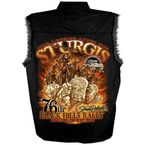 Black Sturgis Indian Storm Sleeveless Denim Shirt - SPM5526-L