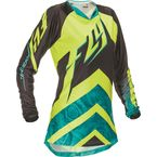 Women's Teal/Hi-Vis Yellow Kinetic Jersey - 369-629L