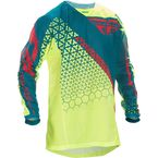 Hi-Vis Yellow/Teal Kinetic Mesh Trifecta Jersey - 370-328L