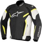 Black/White/Fluorescent Yellow GP Plus R v2 Airflow Leather Jacket - 3100617-125-58