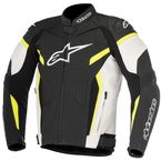 White/Black/Fluorescent Yellow GP Plus R v2 Leather Jacket - 3100517-125-48