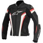Womens Black/White/Red Stella GP Plus R v2 Leather Jacket - 3110517-123-50