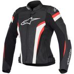 Womens Black/White/Red Stella GP Plus R v2 Airflow Leather Jacket - 3110617-123-38