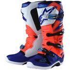 Red Fluorescent/White/Blue Tech 7 Troy Lee Designs Boots - 9391984310