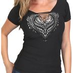 Women's Black Cut-Out Ornate Angel Wings T-Shirt - GLD1435L