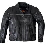 Leather Jacket w/Reflective Piping - JKM100438