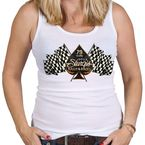 Women's White 2019 Officially Licensed Sturgis®  Motorcycle Rally Checkered Flag Tank Top - SPL2604L