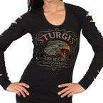 Women's Black 2019 Officially Licensed Sturgis® Motorcycle Rally Eagle Yell Split Long Sleeve Shirt - SPL3065L