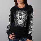 Women's Black Skull Crew Neck Long Sleeve T-Shirt - GLC3183L