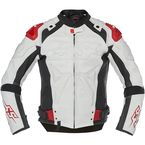 White/Black/Red Revolt Leather Jacket - 1101-0229-2153