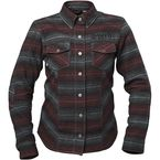 Women's Black/Burgundy Brat Armored Flannel Shirt - 1106-1410-0354